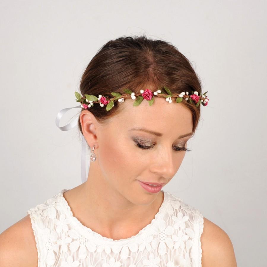 Wedding - Rustic Flower Headband, Wedding Flower Crown, Woodland Wreath,  Rustic Head Piece, Floral Crown, Flower Headpiece, Wedding Hair Piece