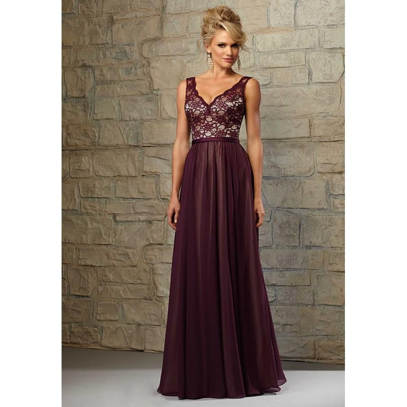 Mariage - Luscious Wine V-Neck Satin Long Hall Bridesmaid Gown - dressosity.com