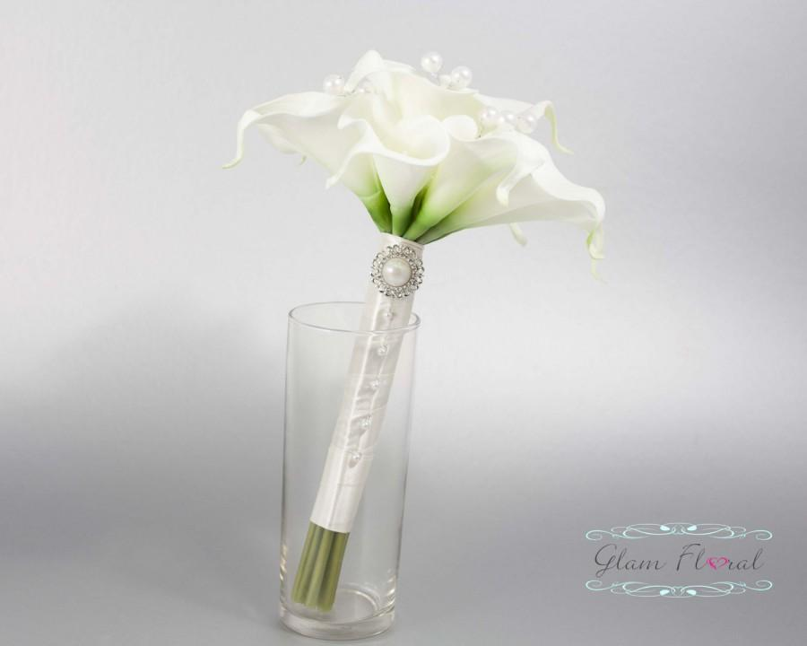 White Calla Lily Wedding Bouquet W Pearls 12 Real Touch Calla