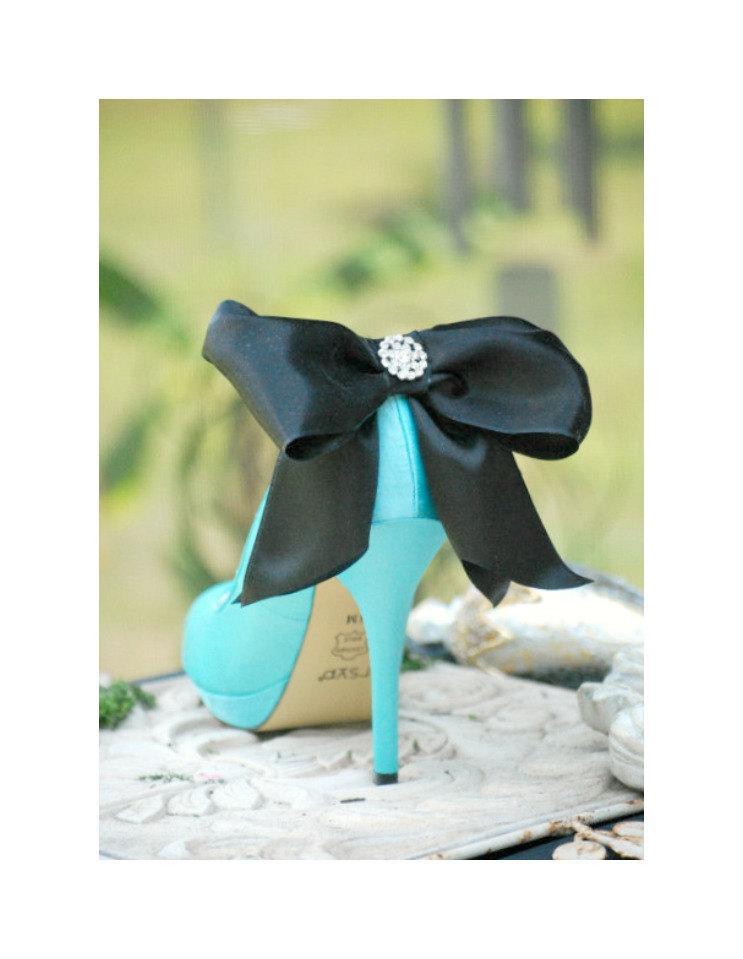 Hochzeit - Oversized Shoe Clips Black Tie Affair Bow Rhinestone. Big Huge. MORE Ivory White Champagne Satin Ribbon. Night Couture, Fun Day Bridal Bride
