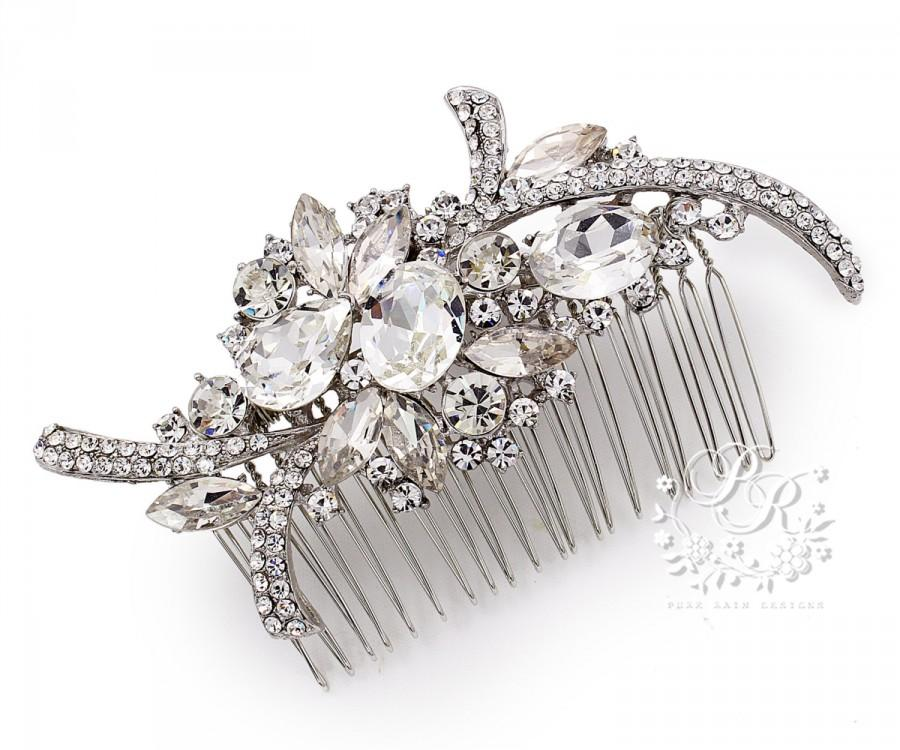 Mariage - Wedding Hair Comb Bridal Hair Comb Rhinestone Hair Comb Hair Accessory Brooch Comb Wedding Jewelry Bridal Jewelry Headpiece Wedding Comb Mar