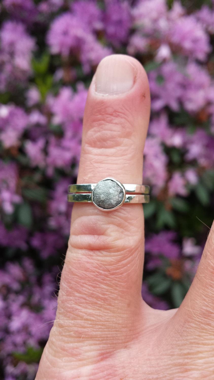 Raw White Diamond Ring Silver Grey Diamond Sterling Silver ...