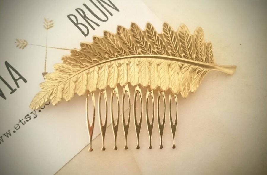 Свадьба - Fern Leaf Hair Comb Gold Leaf Hair Comb Bridal Hair Comb Hair Accessories Wedding