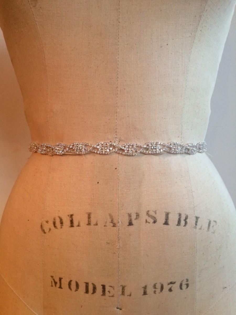 زفاف - Bridal Belt-Bridal Sash-Bridesmaid Belt-Art Deco Rhinestone Beaded Bridal Sash Belt-Bridesmaid Sash-Small Rhinestone Wedding Dress Sash Belt