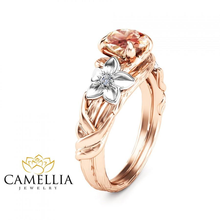 Mariage - 14K Rose Gold Morganite Ring Unique Morganite Ring Branch Ring Morganite Engagement Ring