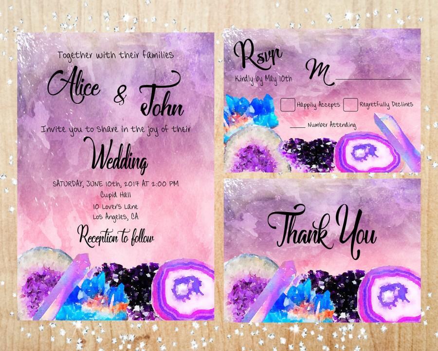 Свадьба - Boho Style Pink, Purple and Blue Crystals and Geodes Wedding Invitation Set Digital Printable