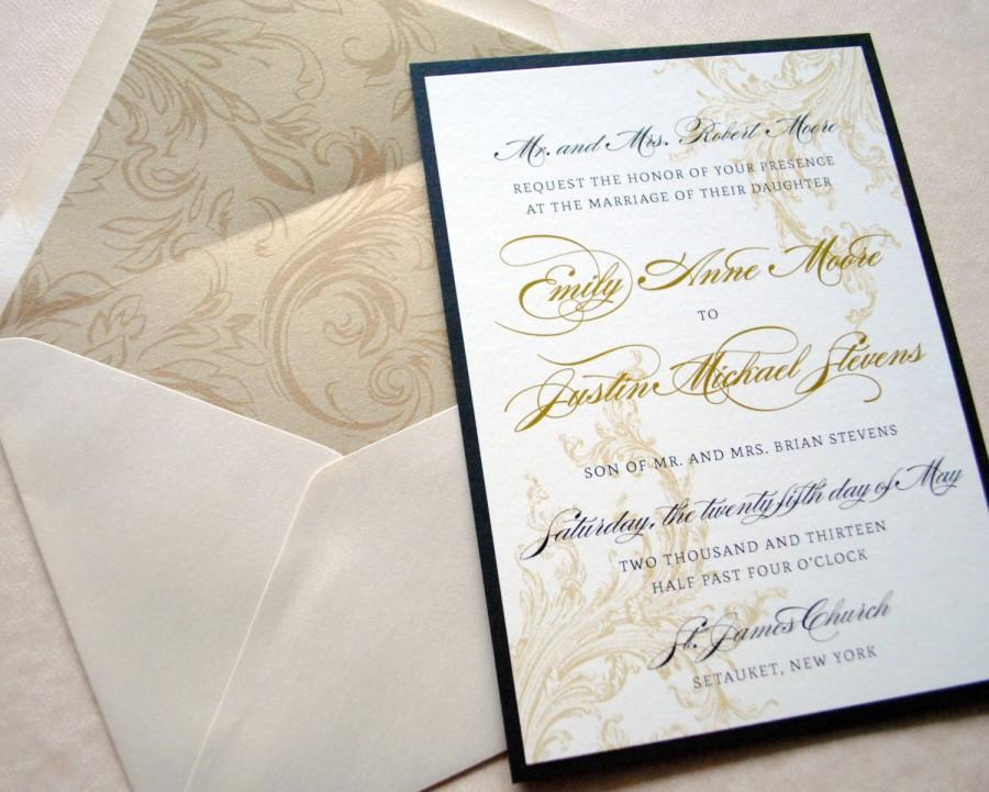 Mariage - Gold and Black Wedding Invitations, Victorian Wedding Invitation, Wedding Invitations, Black and Gold Wedding Invites, Elegant Invitation