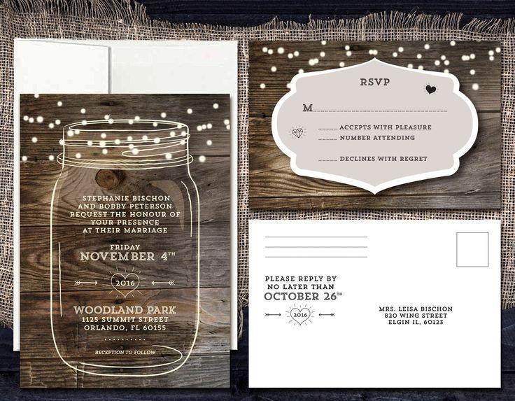 Wedding - Rustic Mason Jar Wedding Invitation, Country Wedding With String Lights