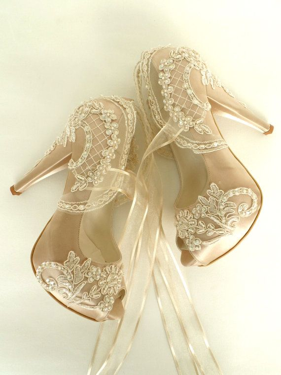 Wedding - Wedding Shoes - Champagne Embroidered Lace Bridal Shoes