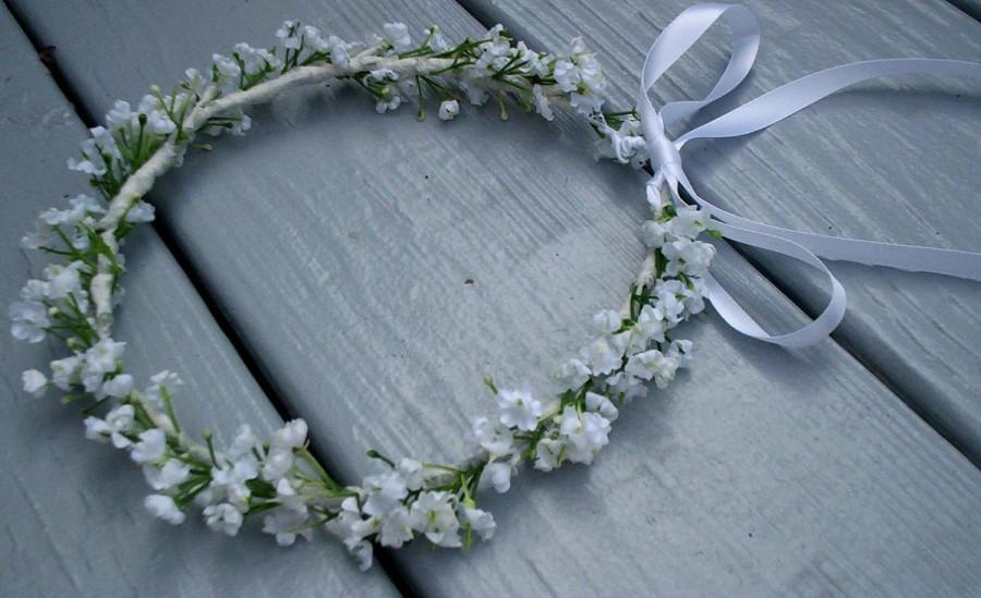 White little girl flower crown Babys Breath Halo baby floral headband  Bridal headpiece Baptism silk hair wreath wedding accessories garland ef861bff8d7