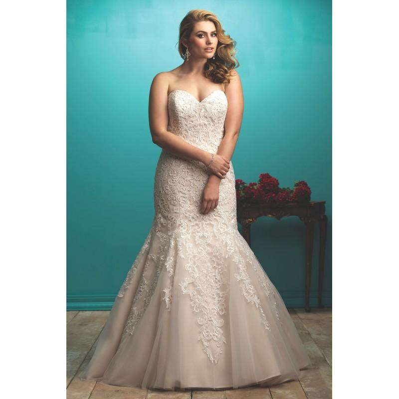 Wedding - Allure Women Plus-Size Dresses Style W363 by Allure Women - Ivory  White  Champagne  Blush Lace Floor Wedding Dresses - Bridesmaid Dress Online Shop