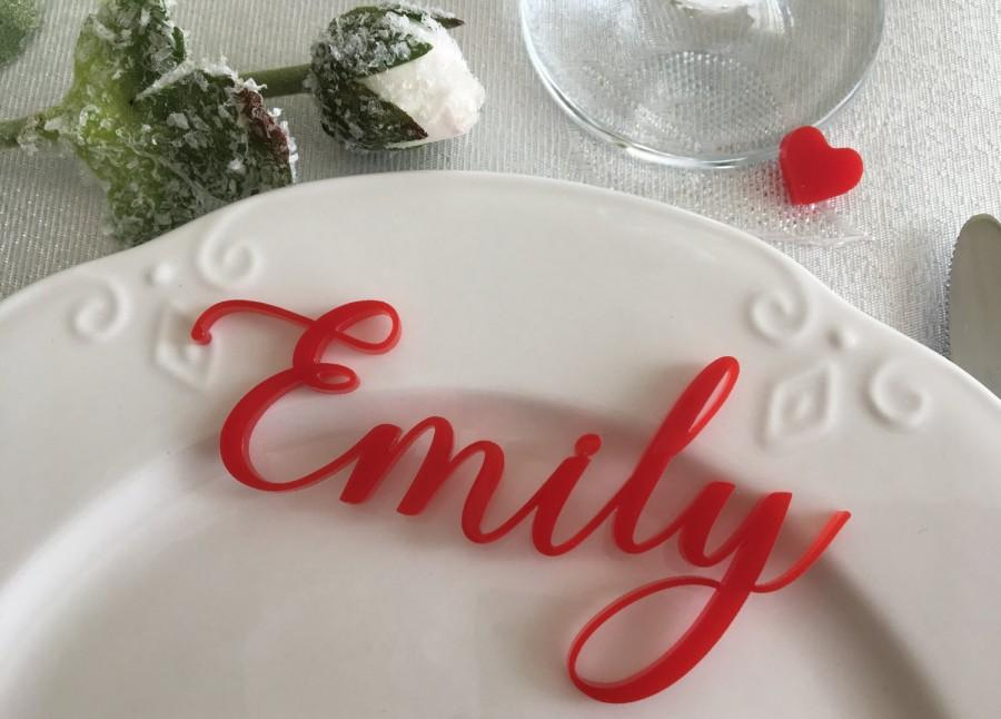 Wedding - Laser cut names, Wedding table place, Guest Setting, Place settings, Table place cards, Escort card ideas Guest name signs Wedding reception
