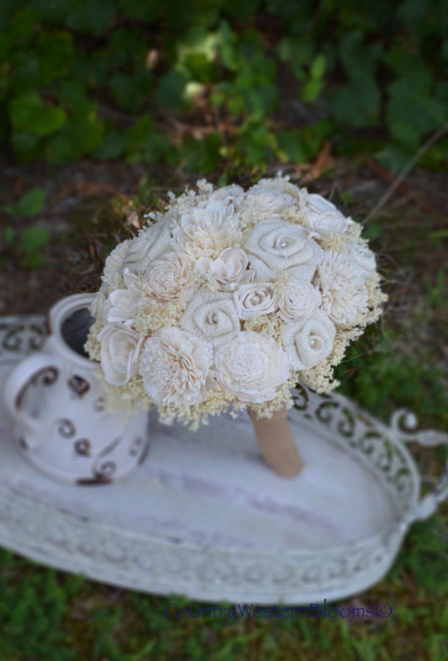 Wedding Bouquet, Ivory Bouquet, Burlap Bouquet, Rustic Bouquet ...