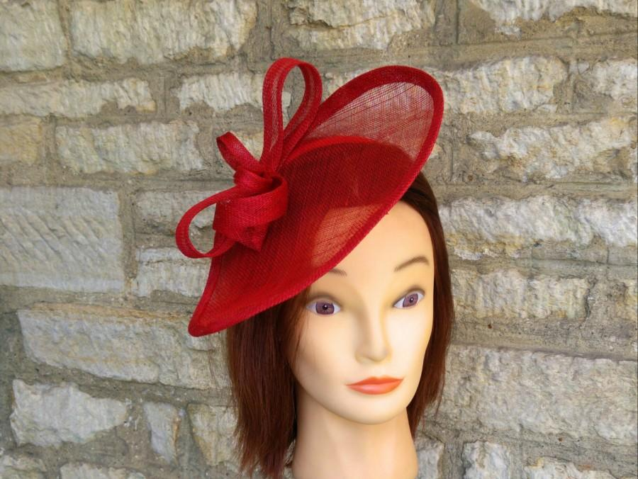 Red Wedding Hat Poppy Fascinator On Headband Races Kate Middleton Tea Party Formal