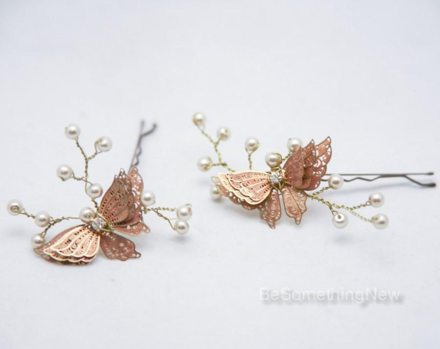 Mariage - Wedding Hair Pins Butterfly and Champagne Pearl Bridal Hair Pin Set, Brass Butterfly Bobbie Pins Hair Jewelry Beaded Headpiece