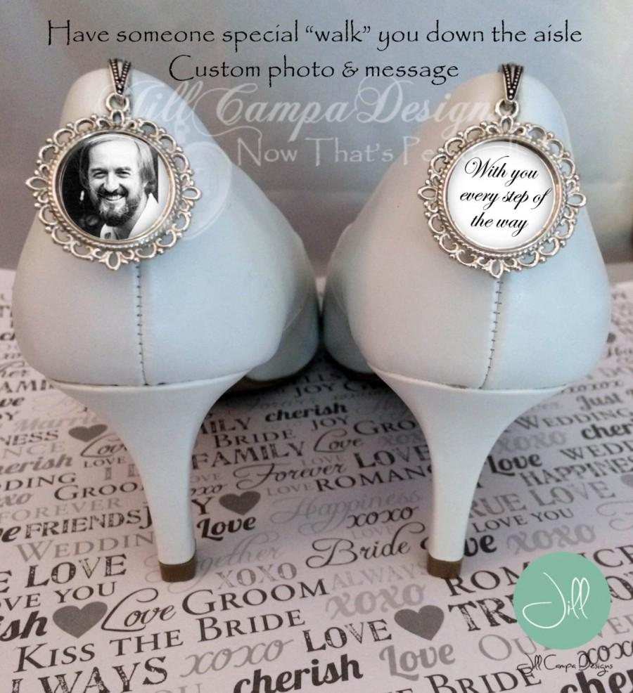 "Mariage - Wedding Shoe Charm, photo and message, ""with you every step of the way"" - SET of 2 memorial wedding shoe charms - Bridal shoe Charm - Bride"