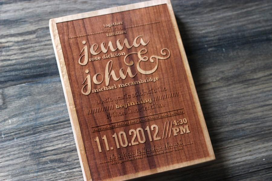 Hochzeit - Engraved Wedding Invitation - Modern Wood Replica