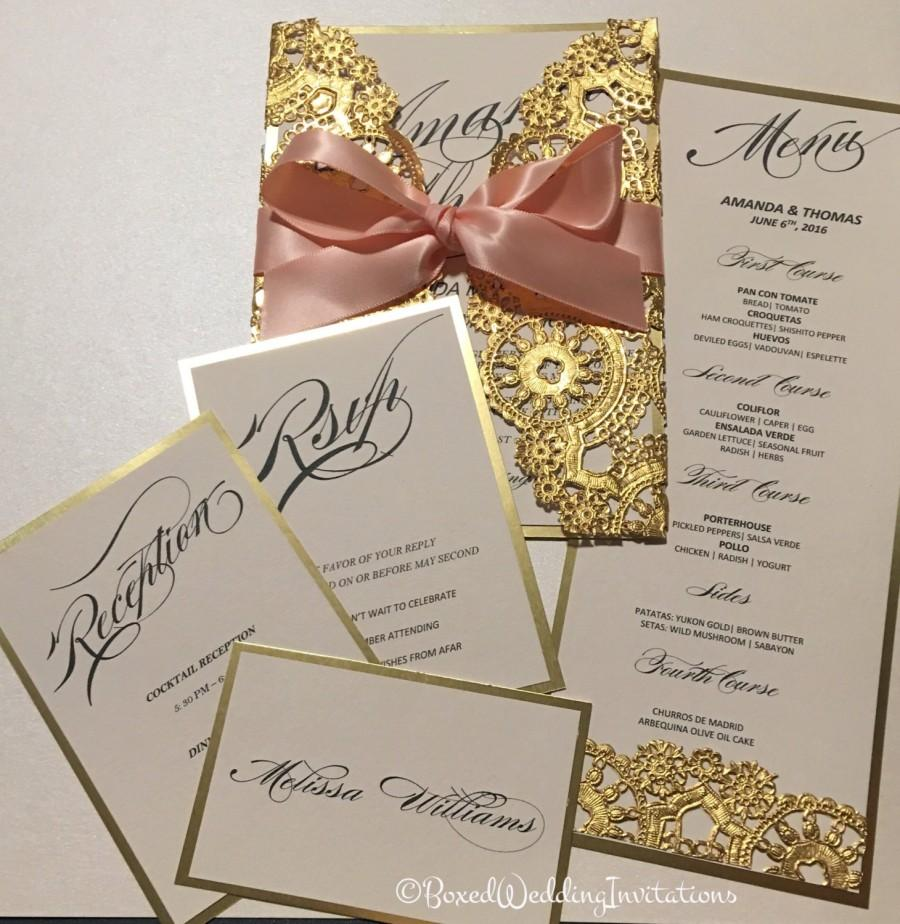زفاف - Gold Invitation Card & RSVP/Lasercut Invitation Card/ Save the Date Invitation Card/Quinceanera Invitation Card/ Wedding Invitation Card