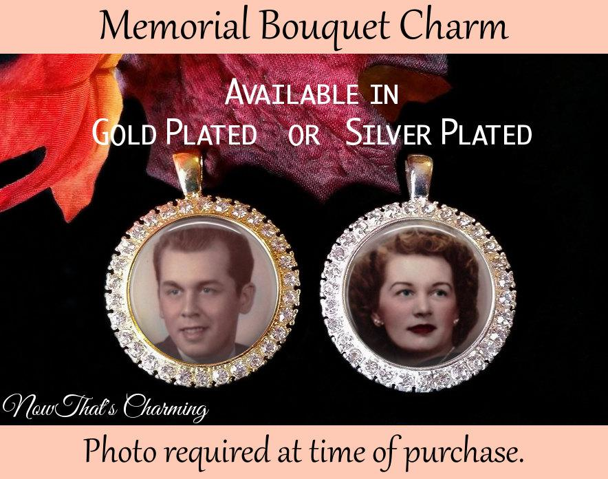 Mariage - SALE! Rhinestone Memorial Bouquet Charm - Personalized with Photo - $16.99 USD