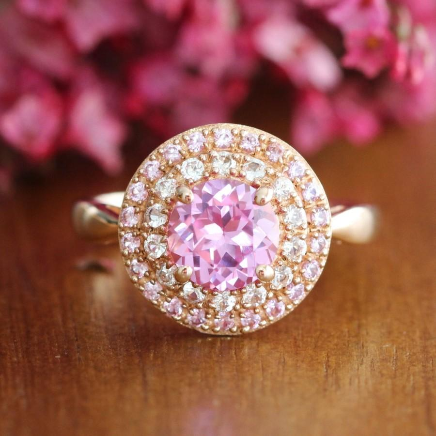 Hochzeit - Pink Sapphire Double Halo Engagement Ring in 10k Rose Gold Sapphire Ring September Birthstone Gemstone Ring, Size 7 (Resizable)