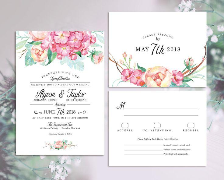 Blush Mint And Pink Floral Wedding Invitation Set Modern Watercolor With Bouquet Of Hydrangea