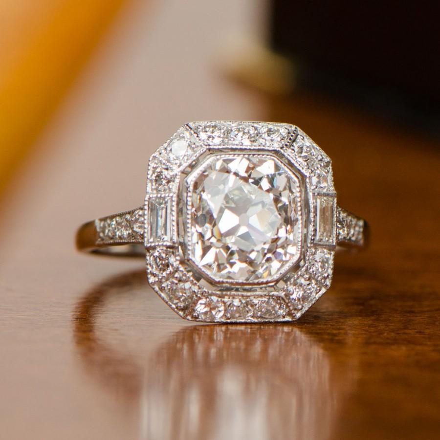Mariage - 2.80 Carat Antique Cushion Cut and Diamond Halo Platinum Ring