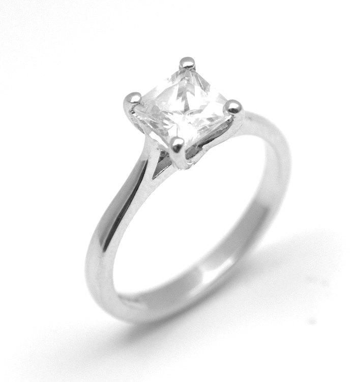 زفاف - Diamond-Unique Princess Cut 1ct Engagement Ring Sterling Silver  (117)