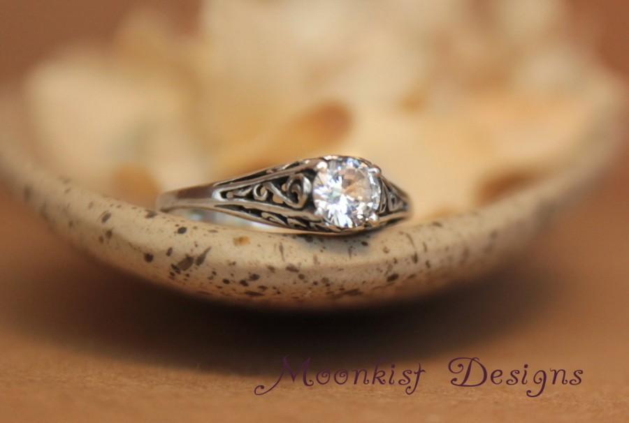 Mariage - Size 6 - Dainty White Sapphire Filigree Engagement Ring in Sterling - Silver Vintage-style Filigree Promise Ring - Ready to Ship