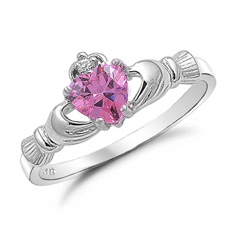 زفاف - Claddagh Ring, Custom Birthstone Claddgh Ring,  September Birtstone, Sterling Silver Claddagh Ring with Simulated Pink SAPPHIRE Ring