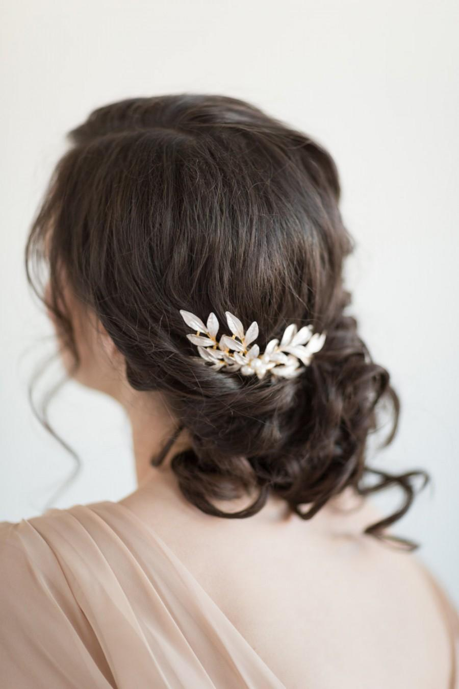 Свадьба - Gold Leaf Hair Comb, Bridal Hair Comb, Wedding Hair Accessory