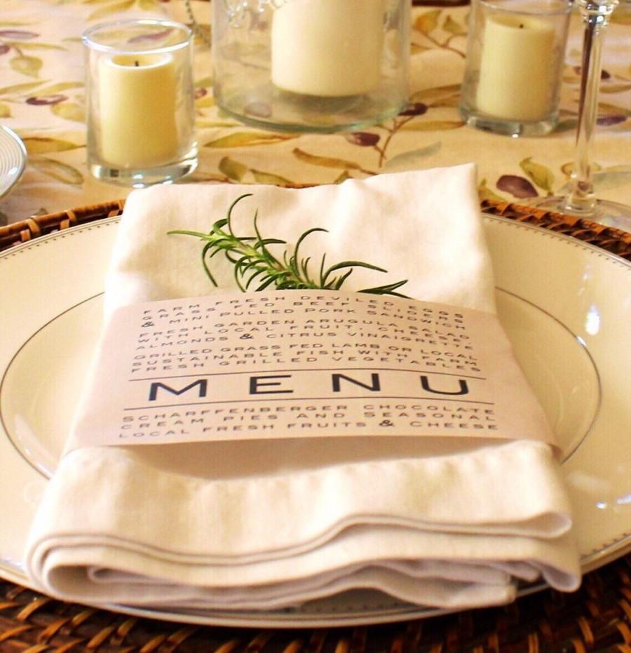 Shabby Chic Wedding Table Decorations: Printable Napkin Ring Menu