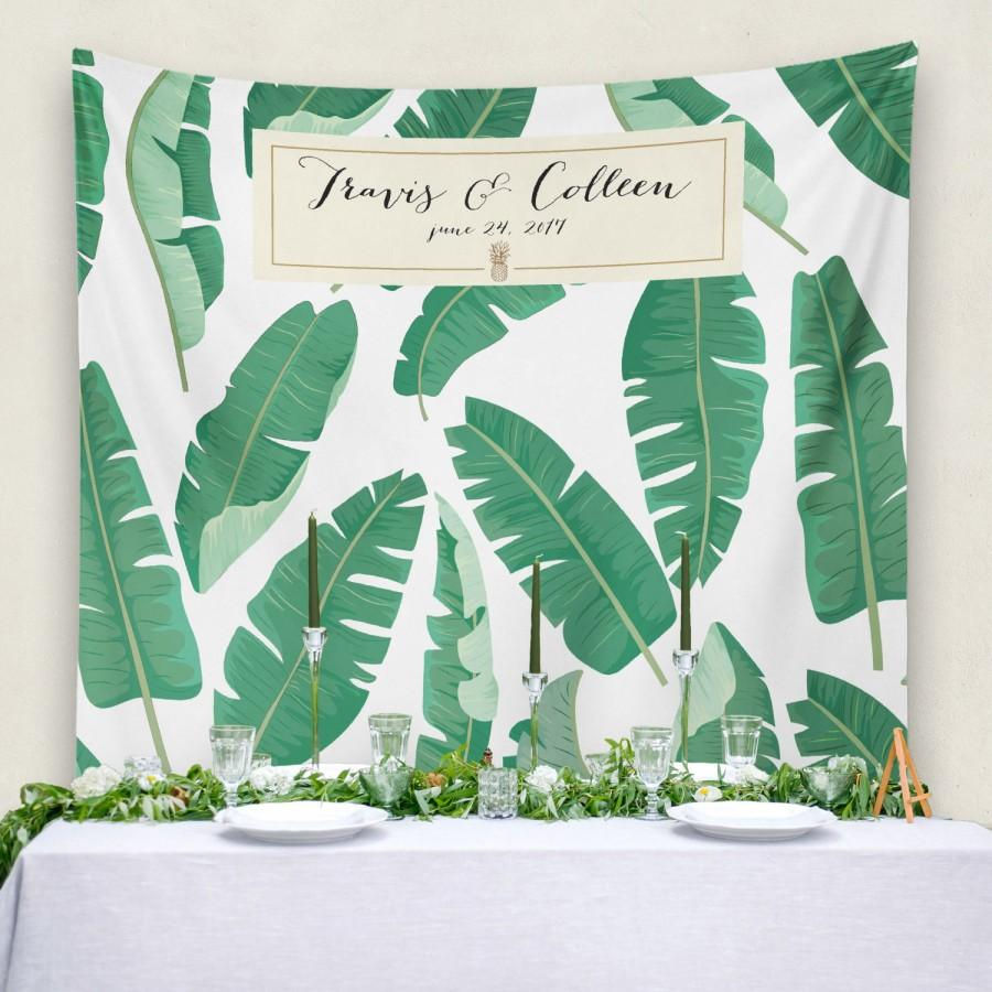 tropical banana palm wedding retro banana leaf tapestry custom