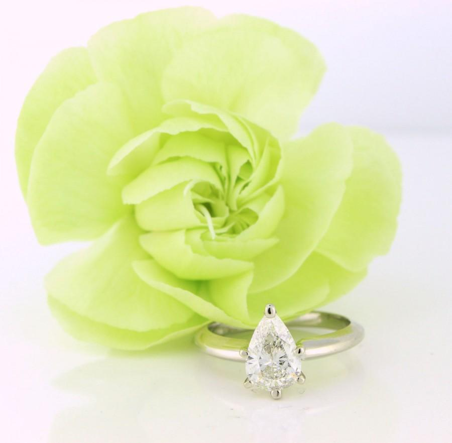 Свадьба - 1.11ct Pear Cut Diamond Engagement Ring Solitaire 14k white gold SI3 clarity and G color - DIAR10121