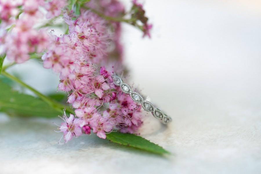 Mariage - Art Deco Wedding Band, Full Eternity Ring, Wedding Ring, Milgrain Ring, Marquise Ring, Diamond Simulants, Sterling Silver