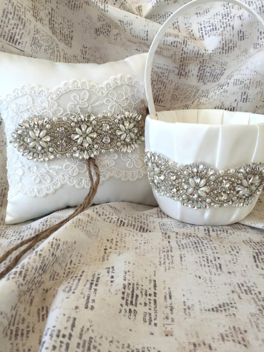 زفاف - Flower girl basket rustic, Rhinestone flower girl basket, Rhinestone ring pillow, lace ring pillow, rustic ring pillow, ivory ring pillow