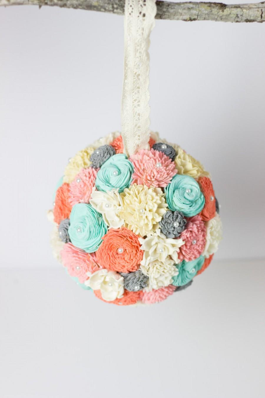 Mint, Blush,Coral, Gray Kissing Ball, Sola Flower Kissing Ball ...