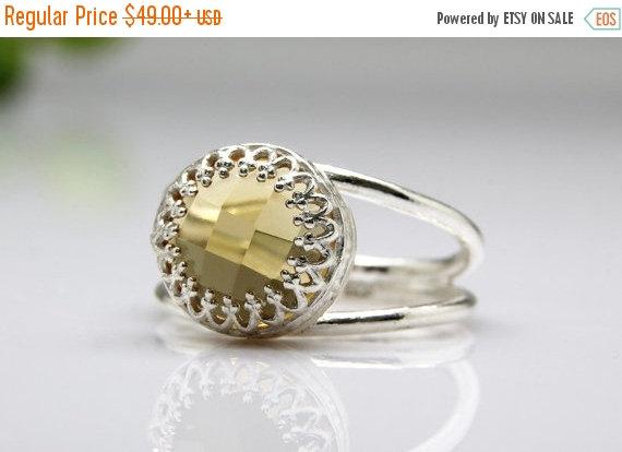 زفاف - WINTER SALE - Citrine ring,November birthstone ring,silver ring,vintage ring,unique rings,gemstone ring,double band ring