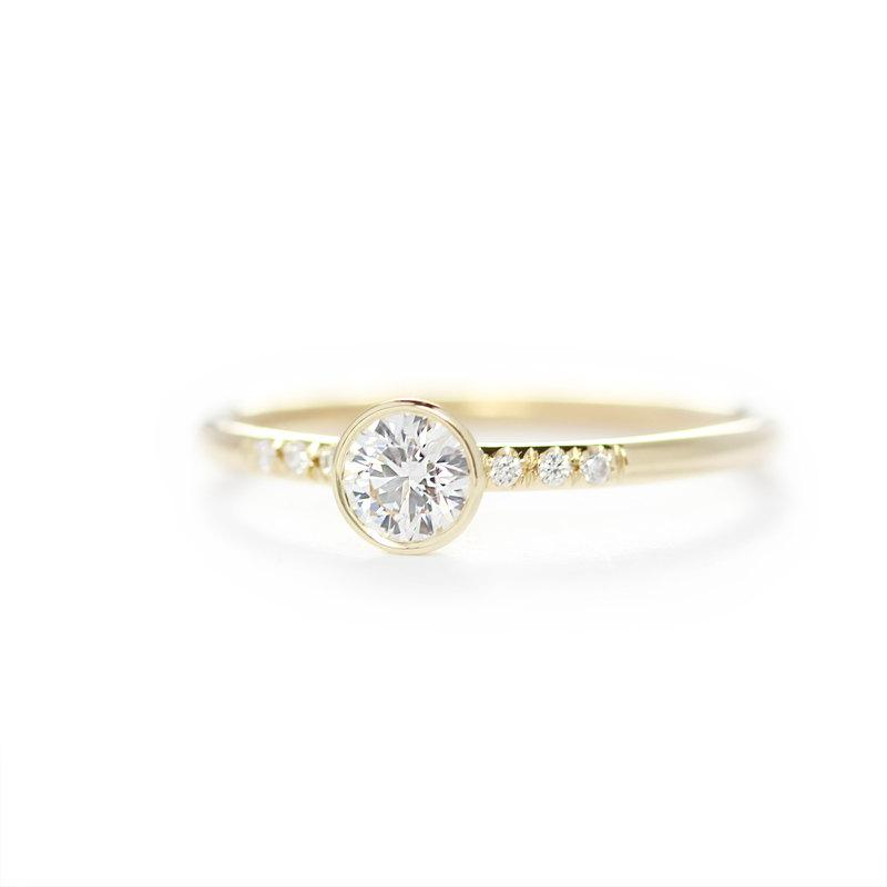 زفاف - GIA 14k Solid Yellow Gold 0.25ct Diamond Engagement Ring ,Simple Engagement Ring,Stacking Diamond Gold Ring-Conflict Free