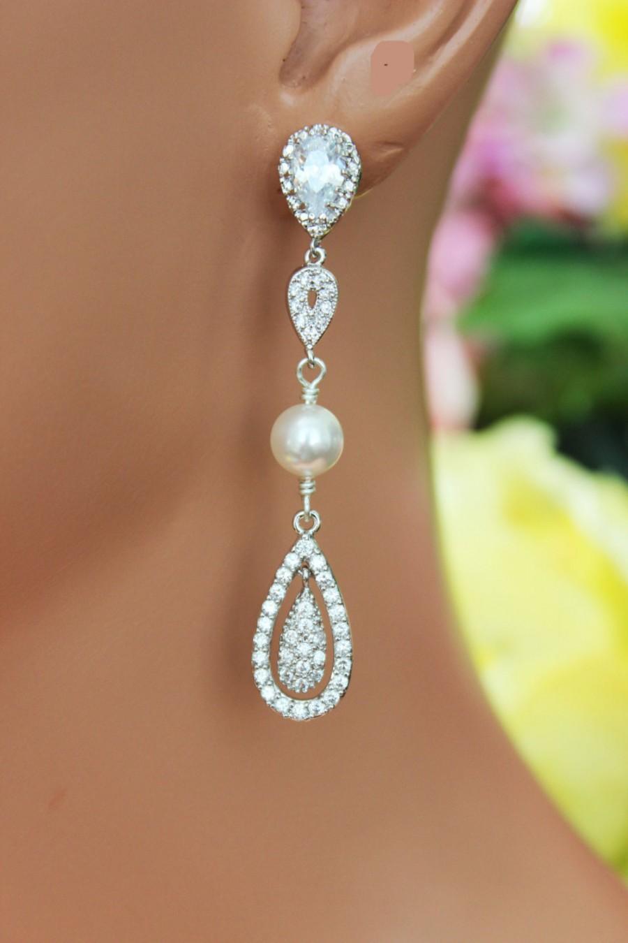 زفاف - Crystal Chandelier Wedding Earrings, Cubic Zirconia Long Bridal Earrings, Bridesmaids Earrings, Bridal Accessories, Crystal Drop Earrings