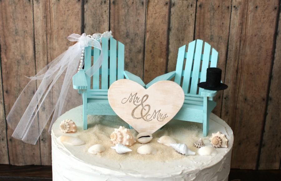 Mariage - Custom Adirondack chairs wedding cake topper-beach wedding-destination wedding-beach-chairs