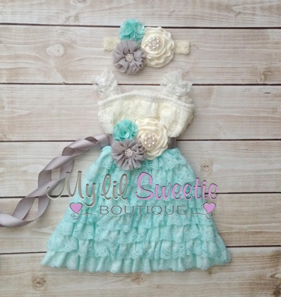 Wedding - Ivory, gray, light mint spa aqua 3 piece set, dress, sash, headband, baby girl outfit, special occasion dress, toddler dress, girls dress,