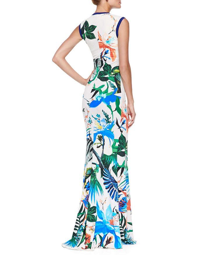 Mariage - Emilio Pucci Blue Tropical Floral-Print U-Neck Maxi Dress
