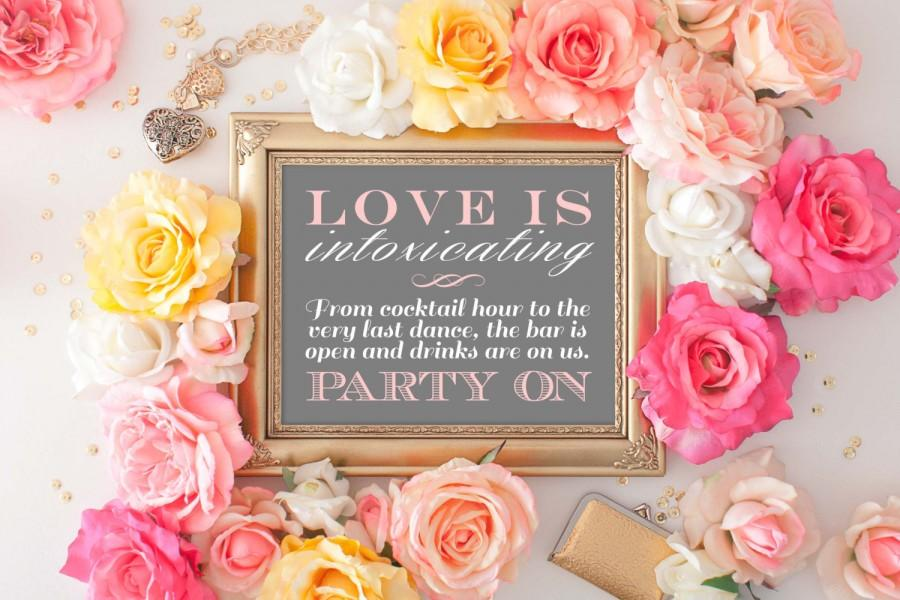 Mariage - Wedding Bar Sign, Wedding Cocktail Sign, Open Bar, Love is Intoxicating, Wedding Printable, Wedding Bar Printable, Cocktail Hour, GBWD