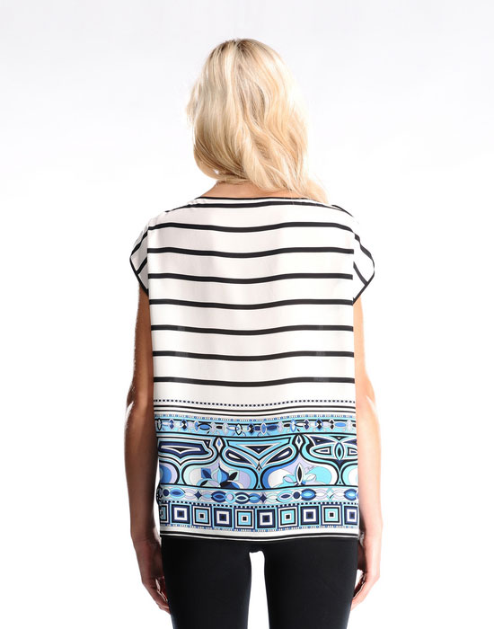 Mariage - EMILIO PUCCI Tops Blue Stripes Mixed Print T-shirt
