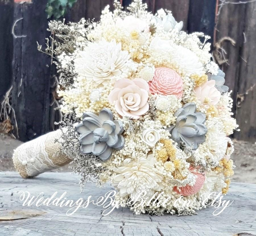 Blush Mauve Gray Sola Flower Bouquet Sola Flowers Sola Wedding Bouquet Loose Sola Bouquet