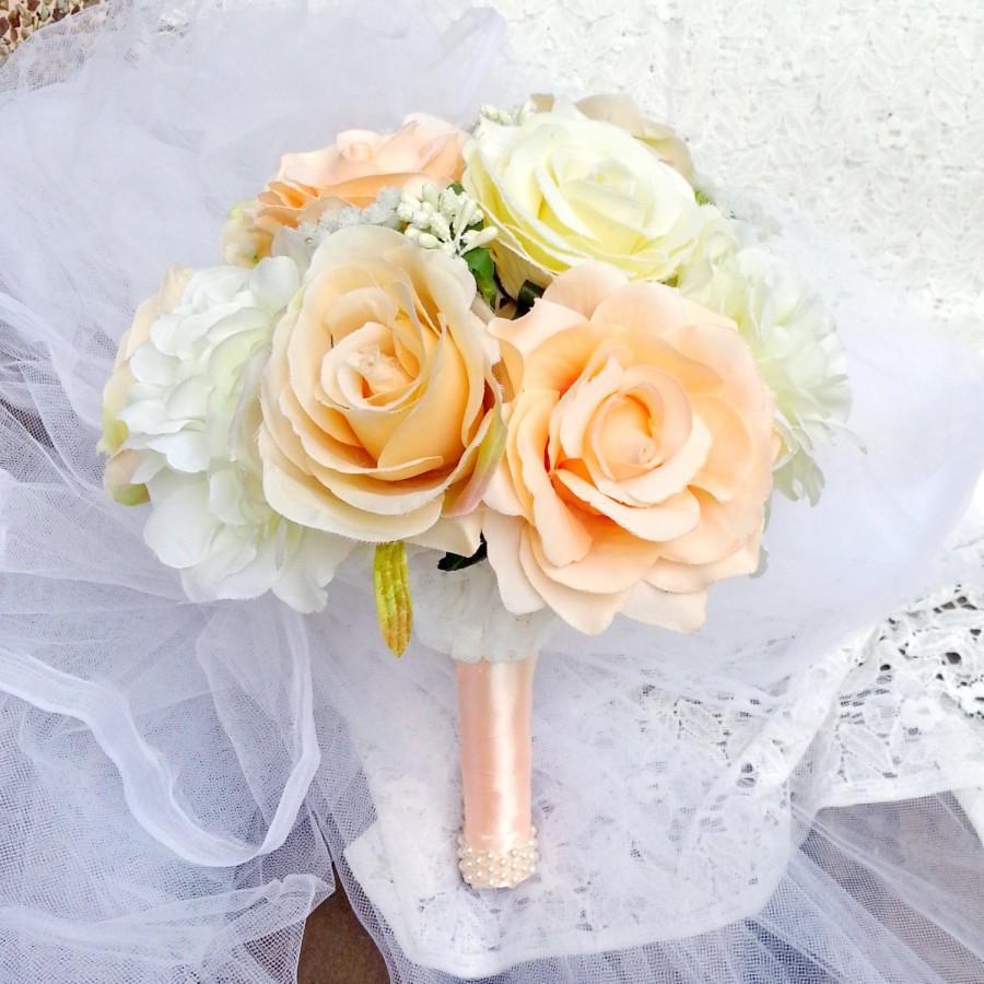 زفاف - Bridal Bouquet,  Rose Flowers Bridesmaid bouquets Champagne rose bouquet, keepsake, rustic woodland (B012)