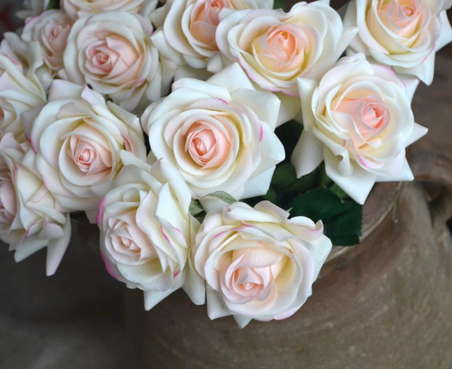 Wedding - Light Blush Roses Real Touch Flowers Silk Latex Roses For Wedding Flowers Silk Bridal Bouquets Wedding Centerpieces