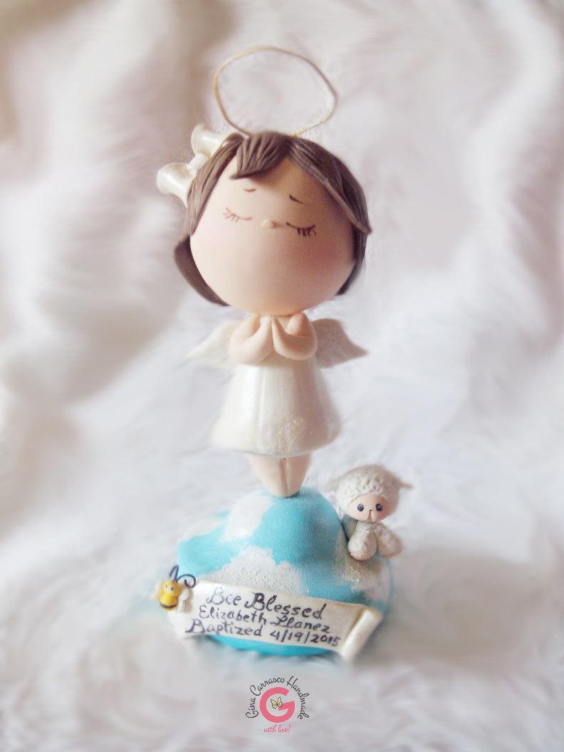 Mariage - Girl Angel cake topper, Holy first communion decoration, Praying Angel, Baby Baptism keepsake, Christening centerpiece, Lamb cake topper