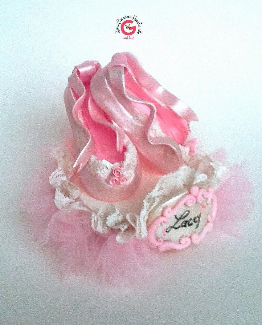 Wedding - ballerina slippers cake topper,  ballerina birthday cake topper, ballerina baby shower, personalized, customized, keepsake in cold porcelain