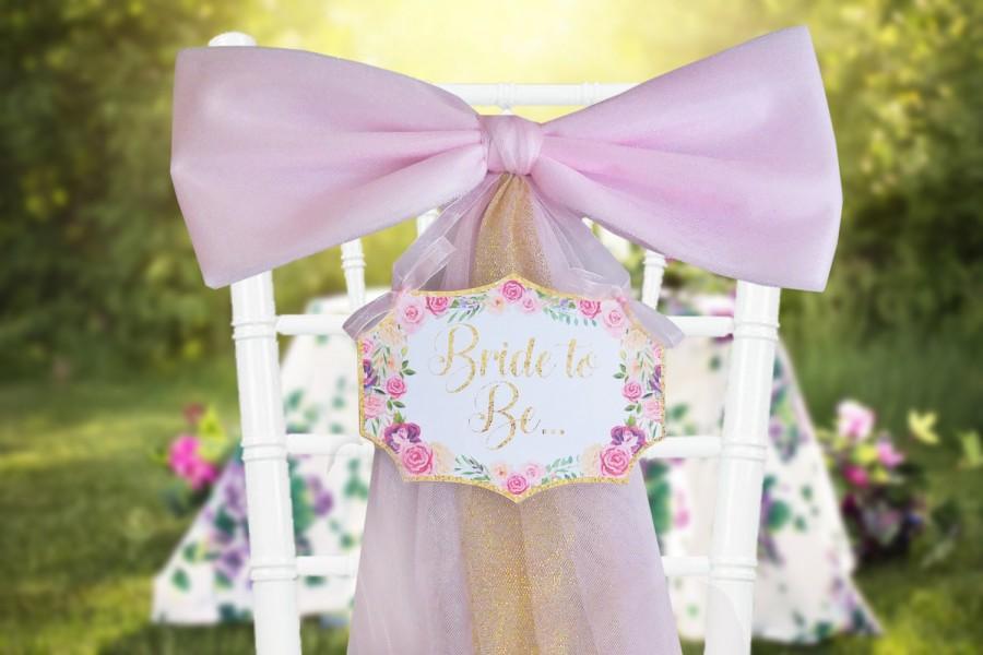Floral Bridal Shower DecorationPink Gold Bride To Be Chair Sign Bow Bachelorette Party Decor Mailbox Door Decoration
